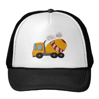 Yellow and red concrete mixer trucker hat