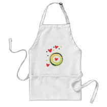 yellow and red, cute love heart adult apron