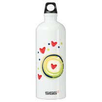 yellow and red, cute love heart aluminum water bottle