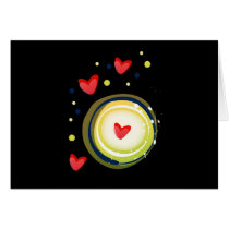 yellow and red, cute love heart card