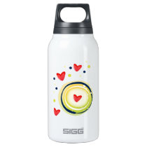 yellow and red, cute love heart insulated water bottle