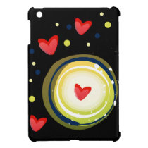 yellow and red, cute love heart iPad mini cover