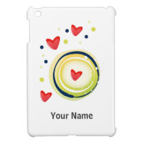 yellow and red, cute love heart iPad mini covers