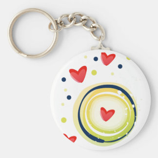 yellow and red, cute love heart keychain