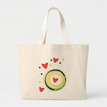 yellow and red, cute love heart large tote bag