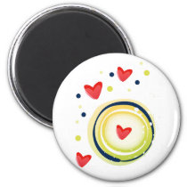 yellow and red, cute love heart magnet