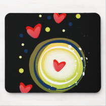 yellow and red, cute love heart mouse pad