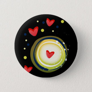 yellow and red, cute love heart pinback button