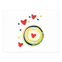 yellow and red, cute love heart postcard