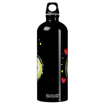 yellow and red, cute love heart water bottle