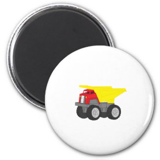 Yellow and Red Dump Truck Construction Vehicle 2 Inch Round Magnet