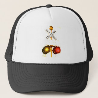 Yellow And Red Flashing Railroad Crossing Signals Trucker Hat