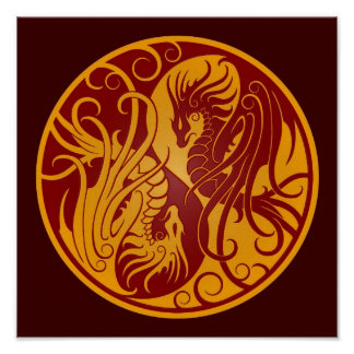 Yellow and Red Flying Yin Yang Dragons Poster