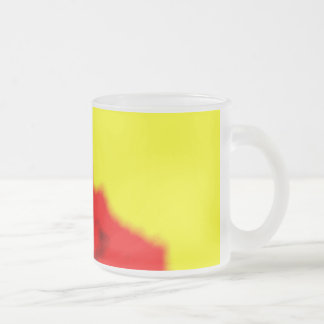Yellow and Red Frosted Glass Coffee Mug
