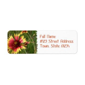 Yellow and Red Gaillardia Flower Mailing Label Return Address Label