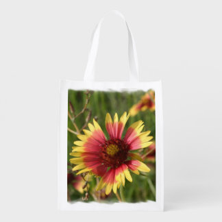 Yellow and Red Gaillardia Flowers Reusable Grocery Bag