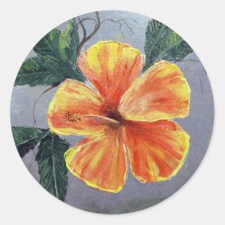 Yellow and Red Hibiscus Classic Round Sticker
