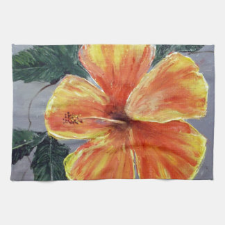 Yellow and Red Hibiscus Hand Towel