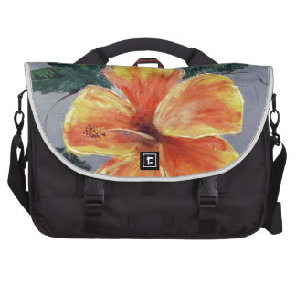 Yellow and Red Hibiscus Laptop Messenger Bag