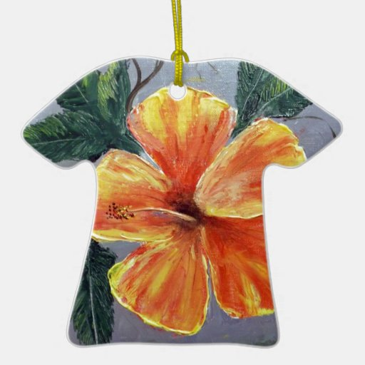 Yellow and Red Hibiscus Double-Sided T-Shirt Ceramic Christmas Ornament