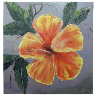 Yellow and Red Hibiscus Printed Napkin