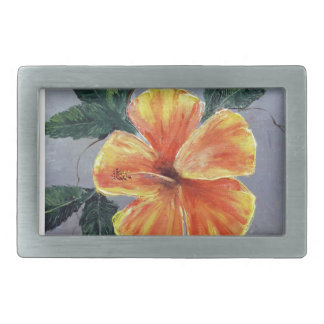 Yellow and Red Hibiscus Rectangular Belt Buckles