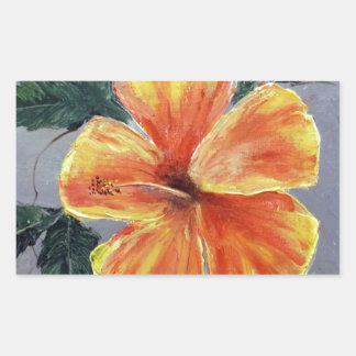 Yellow and Red Hibiscus Rectangular Sticker