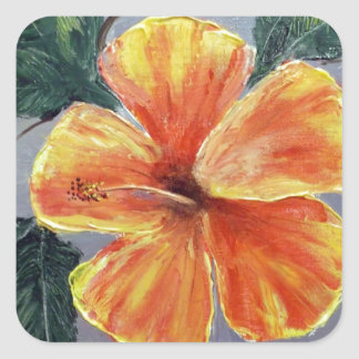 Yellow and Red Hibiscus Square Sticker