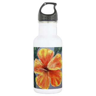 Yellow and Red Hibiscus Stainless Steel Water Bottle