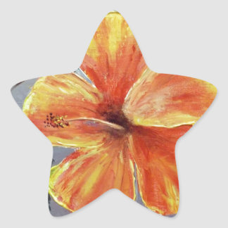 Yellow and Red Hibiscus Star Sticker