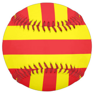 Yellow and Red Horizontal Stripes Softball