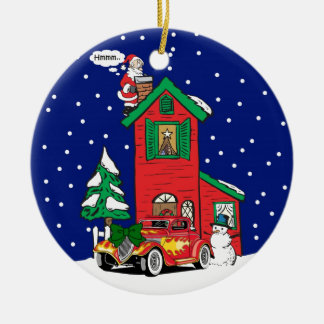 Yellow And Red Hot Rod Gifts By Gear4gearhead Double-Sided Ceramic Round Christmas Ornament