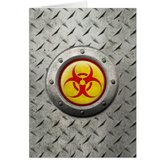 Yellow and Red Industrial Biohazard Steel Effect Greeting Cards