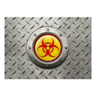 Yellow and Red Industrial Biohazard Steel Effect Announcement