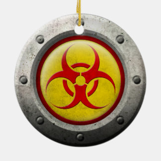 Yellow and Red Industrial Biohazard Steel Effect Ornament