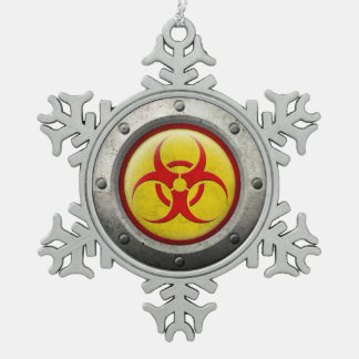 Yellow and Red Industrial Biohazard Steel Effect Ornaments