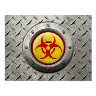 Yellow and Red Industrial Biohazard Steel Effect Postcard