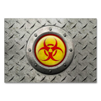 Yellow and Red Industrial Biohazard Steel Effect Table Cards