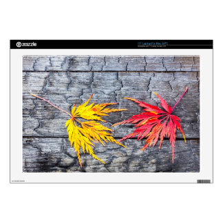 """Yellow and red maple leaf on black burnt wood decal for 17"""" laptop"""