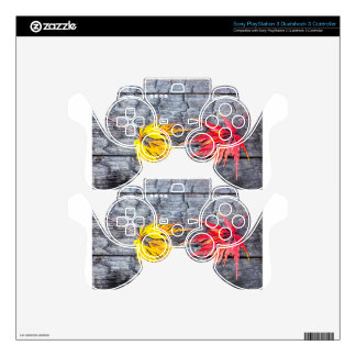 Yellow and red maple leaf on black burnt wood PS3 controller decals
