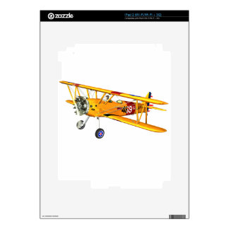Yellow and Red Military Training Biplane Decals For The iPad 2