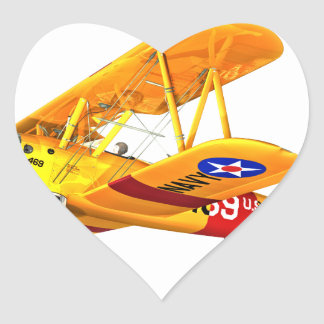 Yellow and Red Military Training Biplane Flying Heart Sticker