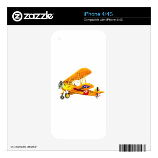 Yellow and Red Military Training Biplane Flying iPhone 4 Skin