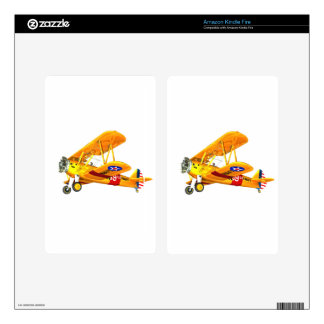 Yellow and Red Military Training Biplane Flying Skin For Kindle Fire