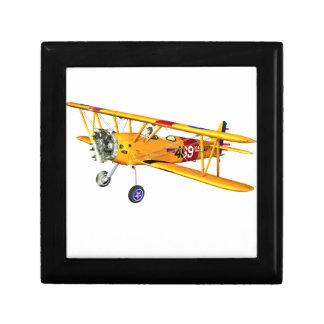 Yellow and Red Military Training Biplane Jewelry Box