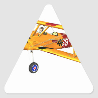 Yellow and Red Military Training Biplane Triangle Sticker