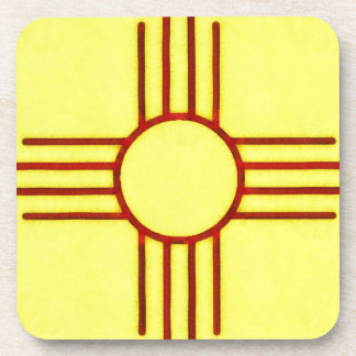 Yellow And Red New Mexico Zia Drink Coaster