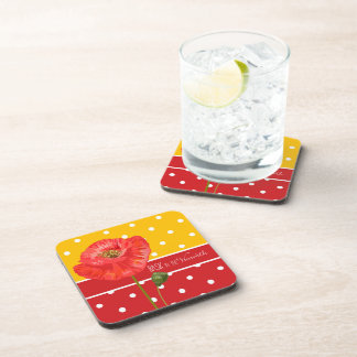 Yellow and Red Polka Dots with Poppies Drink Coaster