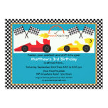 Yellow and Red Race Car Birthday Party Custom Invitation