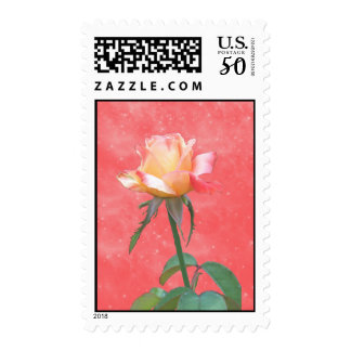 Yellow and Red Rose Postage Stamps